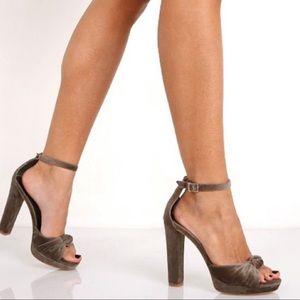 Joie Nabila Velvet Platform Heels 10 40 Ash Green